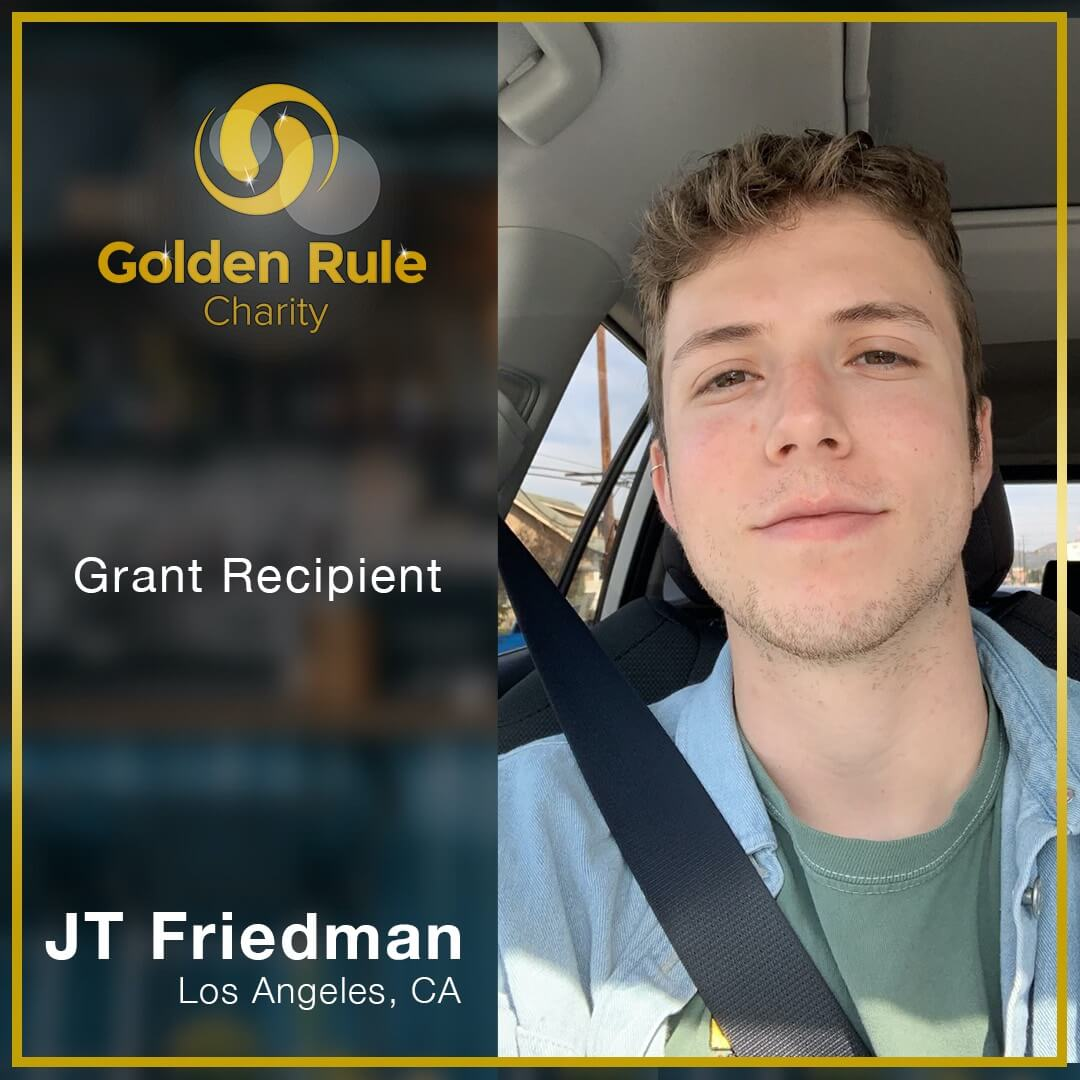 """""""Golden Rule Charity came to the rescue for me in a real moment of financial hardship. The application process was simple and straightforward, and everyone at GRC was helpful in their communications. I cannot thank GRC enough for the work that they do, and for recognizing the value of workers in hospitality. I would recommend GRC to any of my peers in need, and even more so to any donors looking to put themselves behind a worthy cause."""" _ JT Friedman, Los Angeles, CA"""